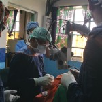 Dr Raj operating on the scleral buckle case