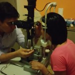Examining a patient in the clinic