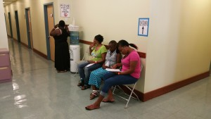 Patients waiting for an eye exam