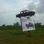 A car in a fatal accident perched up to remind drivers