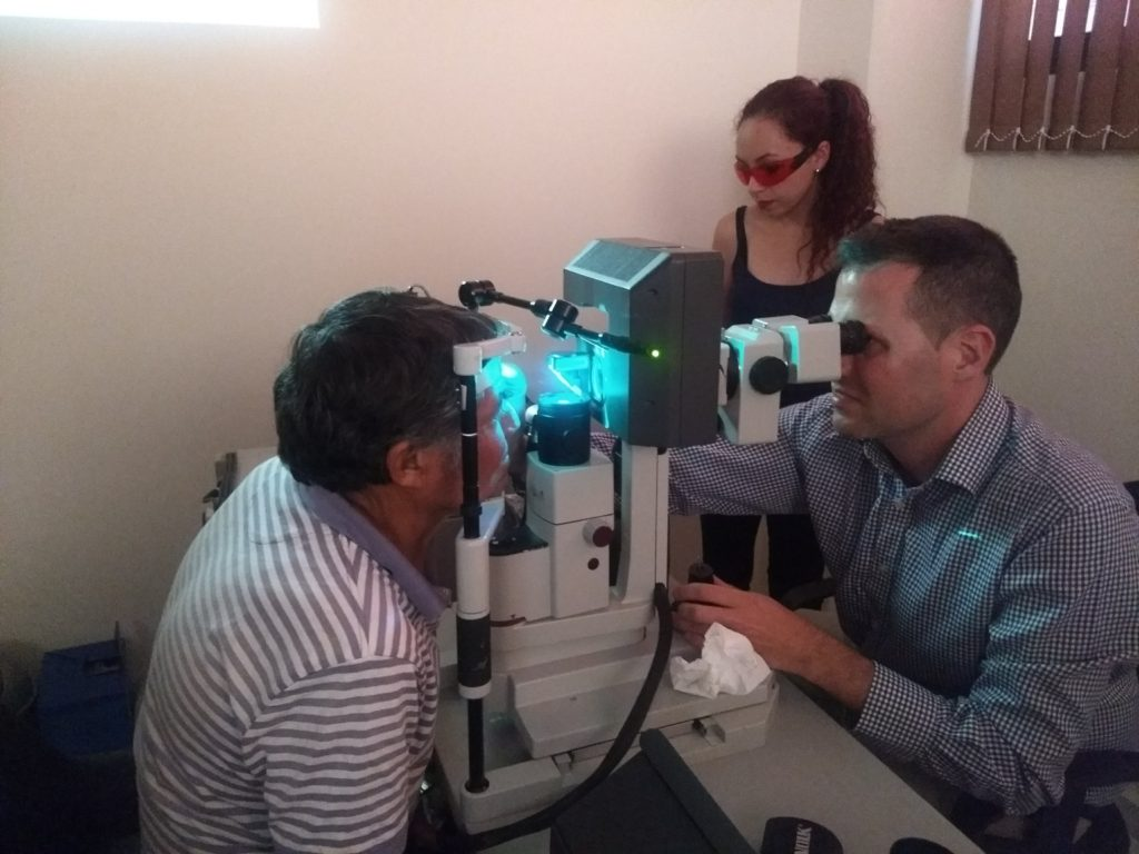 Dr. Jesse McCann performing laser on a patient with diabetic retinopathy.